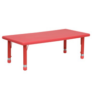 Advantage 24''W x 48''L Rectangular Red Plastic Height Adjustable Activity Table [YU-YCX-001-2-RECT-TBL-RED-GG]