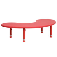 Advantage 35''W x 65''L Half-Moon Red Plastic Height Adjustable Activity Table [YU-YCX-004-2-MOON-TBL-RED-GG]