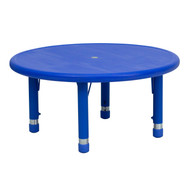 Advantage 33'' Round Blue Plastic Height Adjustable Activity Table [YU-YCX-007-2-ROUND-TBL-BLUE-GG]