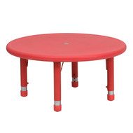 Advantage 33'' Round Red Plastic Height Adjustable Activity Table [YU-YCX-007-2-ROUND-TBL-RED-GG]