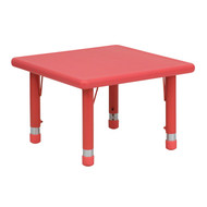 Advantage 24'' Square Red Plastic Height Adjustable Activity Table [YU-YCX-002-2-SQR-TBL-RED-GG]