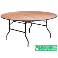 Advantage 66 in. Round Wood Folding Banquet Table [YT-WRFT66-TBL-GG]