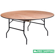 15-pack Advantage 66 in. Round Wood Folding Banquet Tables [15-YT-WRFT66-TBL-GG]
