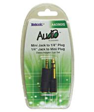 AA3562G-2pcs Set 3.5mm J to 6.3mm P & 6.3mm J to 3.5mm