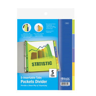 BAZIC 3-Ring Binder Pockets Dividers W/ 5-Insertable Color Tabs