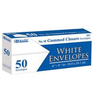 BAZIC #10 White Envelope W/ Gummed Closure (50/Pack)