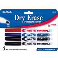 BAZIC Asst. Color Fine Tip Dry-Erase Marker (4/Pack)