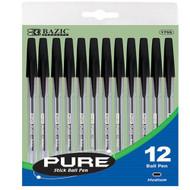 BAZIC Pure Black Stick Pen (12/Pack)