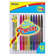 BAZIC 12 Color Mini Propelling Crayons