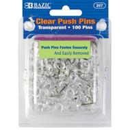 BAZIC Clear Transparent Push Pins (100/Pack)