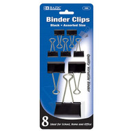 BAZIC Assorted Size Black Binder Clip (8/Pack)