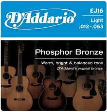 D'addario Phosphor Bronze Acoustic Guitar Light EJ16 Strings