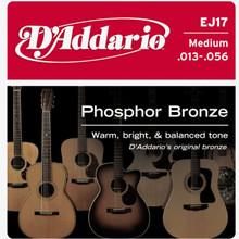 D'addario Phosphor Bronze Acoustic Guitar Medium EJ17 Strings
