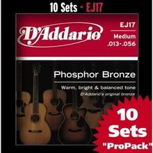 D'addario Phosphor Bronze Acoustic Guitar Medium EJ17 Strings  - 10 sets Pro Pack