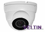 Veltin Premium 5MP IP Dome Camera with POE,  20M IR & integrated Audio Mic - White