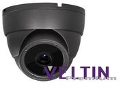 Veltin Premium 5MP IP Dome Camera with POE,  20M IR & integrated Audio Mic - Grey