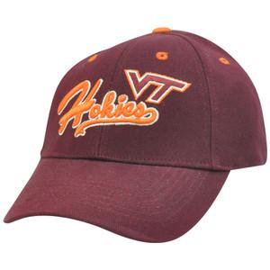 NCAA Virginia Tech Hokies Curved Bill Adjustable Velcro Script Construct Hat Cap