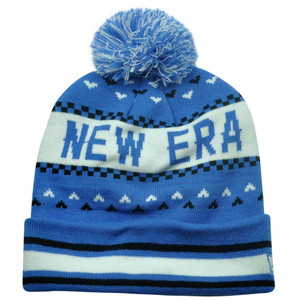 New Era The NE Jake Blue White Winter Warm Cuffed Striped Beanie Knit Hat Toque