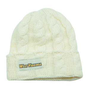 NCAA West Virginia Mountaineers Keira Women Cuffed Crochet Beanie Knit Ladies