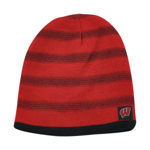 NCAA Wisconsin Badgers Kinsella Reversible Knit Beanie Striped Toque Hat Skully