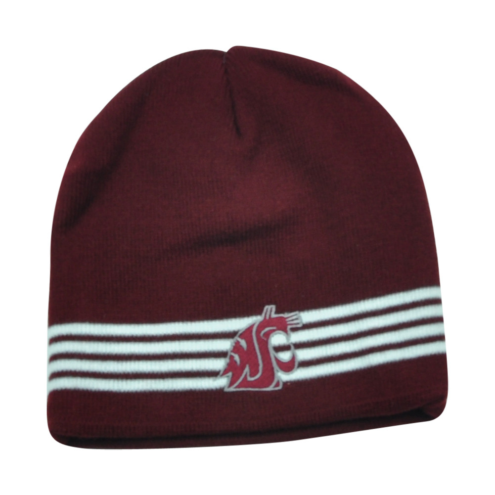 59582500d92 NCAA Washington State Cougars Verified Cuffless Striped Beanie Knit Toque  Hat. Price   16.95. Image 1