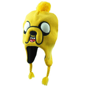 Adventure Time Jake Face Pom Pom Cartoon Tv Show L/XL Beanie Knit Tassel Hat