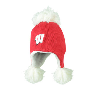 NCAA Wisconsin Badgers Blankie Knit Pom Peruvian Ear Flap Beanie Hat Red Toque