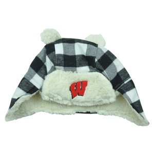 NCAA Wisconsin Badgers Fargo Knit Toddler Beanie Ear Flap Plaid Trapper Hat
