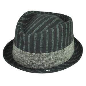 Block Headwear Brand Pinstripe Herringbone Blk Fedora Stetson Trilby Hat Large