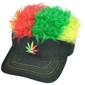 Marijuana Cannabis Jamaica Flair Faux Fur Hair Visor Adjustable Hat Sun Weed Cap