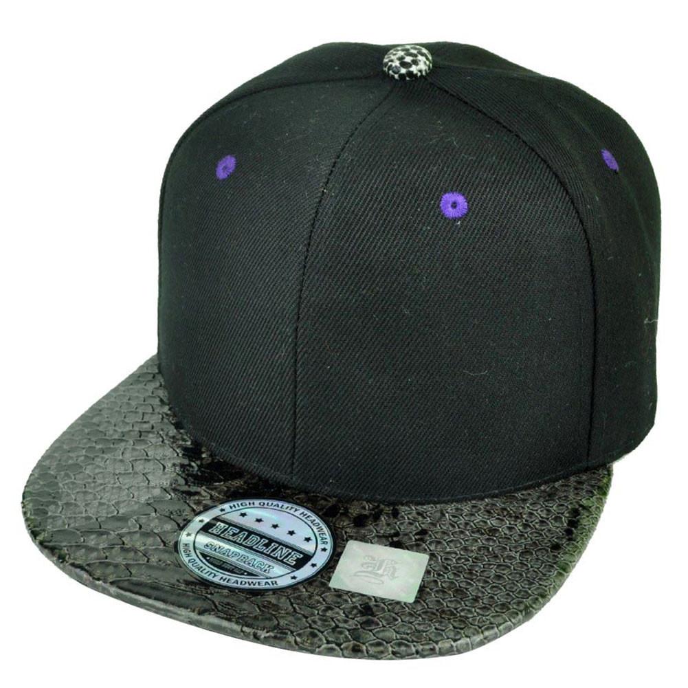 Blank Plain Black Purple Faux Snake Visor Flat Bill Adjustable ... 16c24f55e80