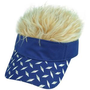 Diamond Plate Pattern Visor Faux Fur Flair Hair Beige Blue Adjustable Hat Cap
