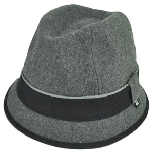 Block Headwear Brand Wool Plain Band Grey Fedora Stetson Dune Trilby Hat Medium