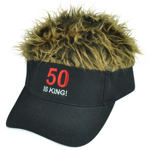 50 Is King Flair Faux Fur Hair Brown Black Adjustable Velcro Hat Visor Sun Cap