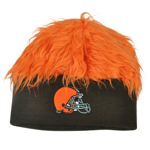 NFL Cleveland Browns Lure Fuzz Hair Headband Knit Beanie Fan Game Orange Hair