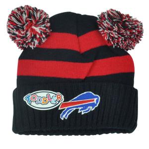 NFL Buffalo Bills Pom Pom Ear Cuffed Toddler Striped Knit Beanie Winter 2Tone