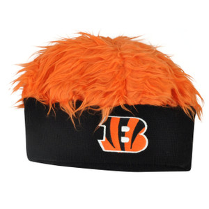 NFL Cincinnati Bengals Lure Fuzz Hair Headband Knit Beanie Fan Game Orange Hair