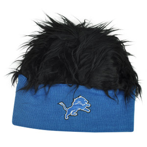 NFL Detroit Lions Lure Fuzz Hair Headband Knit Beanie Fan Game Day Black Hair