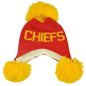 NFL Kansas City Chiefs Blankie Pom Pom Ear Flap Knit Beanie Fleece Winter Hat