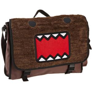 Domo Japanese Animation Faux Fur Men Canvas Messenger Bag School Laptop Brown