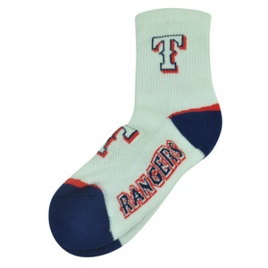 MLB Texas Rangers Youth Ankle Socks 4-8 White Fan Game Spirit Boys Big Logo