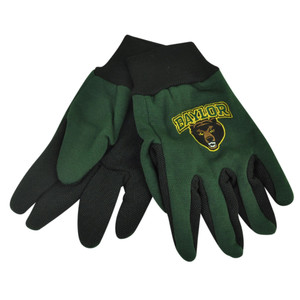 NCAA Baylor Bears Utility Gloves Work One Size Textured Palms College Green Blk