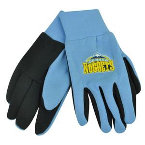 NBA Denver Nuggets Utility Gloves Work One Size Blue Textured Palms College Blk