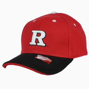 NCAA Rutgers Scarlet Knights Team Colors Split Licensed Construct Velcro Hat Cap
