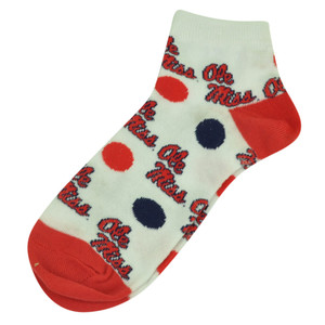 NCAA Mississippi Rebels Ole Miss Womens Medium 6 - 11 Polka Dots Socks White Red