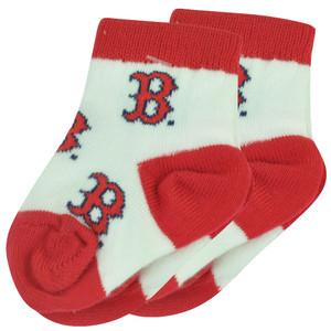 MLB Boston Red Sox Set of 2 Infant 0-3 Socks Boys All Over Logo Fan White Baby