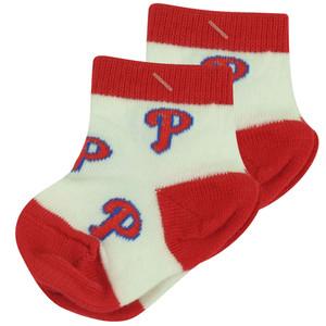 MLB Philadelphia Phillies Set of 2 Infant Baby Socks 0-12 Months White Red Logo