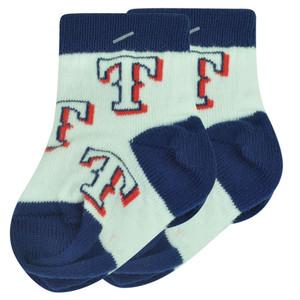 MLB Texas Rangers Set of 2 Infant Baby Socks 0-12 Months White All Over Logo