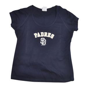 MLB San Diego Padres Arched Logo Tshirt Tee Womens Ladies Shirt Navy SD