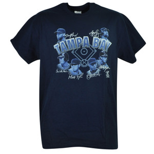 MLB Tampa Bay Rays Stitch Matt Moore Will Myers Tshirt Tee Navy Short Sleeve